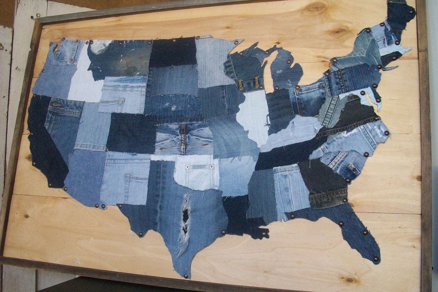 This Great Country Framed Upcycled Denim US By Hatchettdesigns - Us map individual states