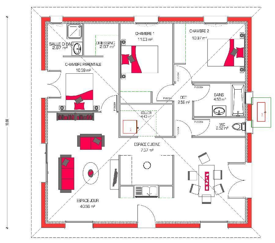 Plano casa de una planta y tres dormitorios en 90 metros for Casa moderna de 70 metros cuadrados