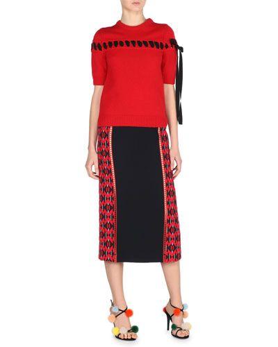 57681decf7a BG Trendy Apparel & Trendy Shoes at Bergdorf Goodman. -760P Fendi  Geometric-Paneled Midi Skirt, Black/Red Ribbon-Stitched Cashmere Sweater