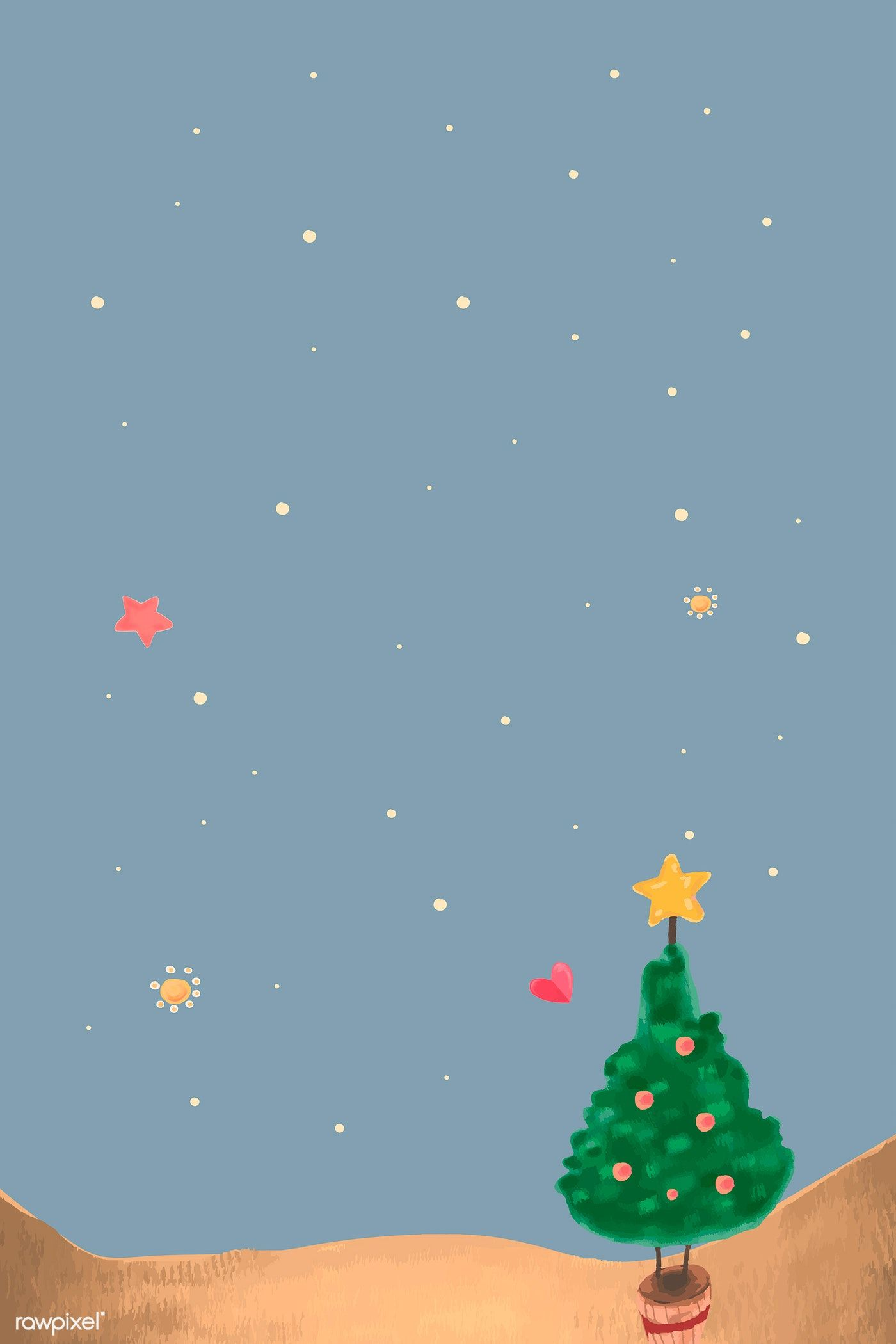 Download Premium Vector Of Cute Christmas Tree At Night Background Vector Cute Christmas Tree Christmas Cards Night Background