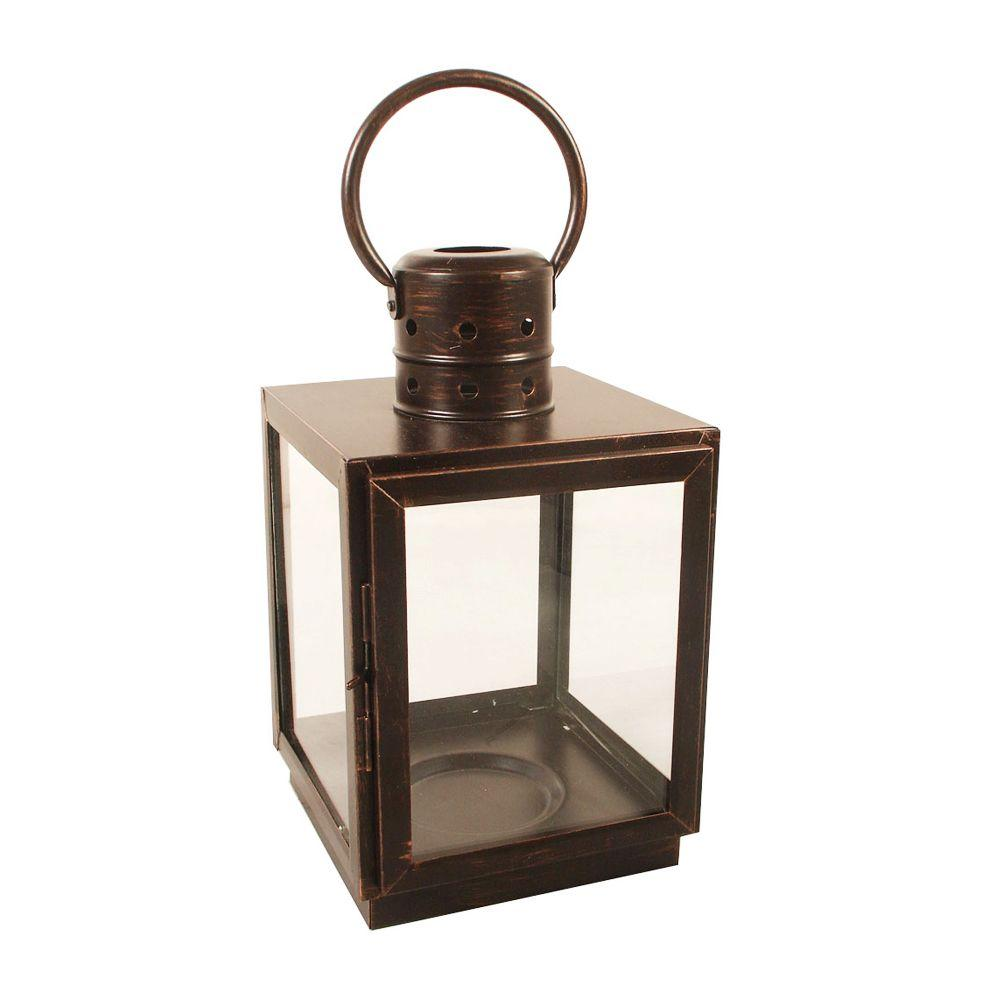 Unbranded 12 in. Bronze Square Small Lantern-DS-8778-CB - The Home Depot