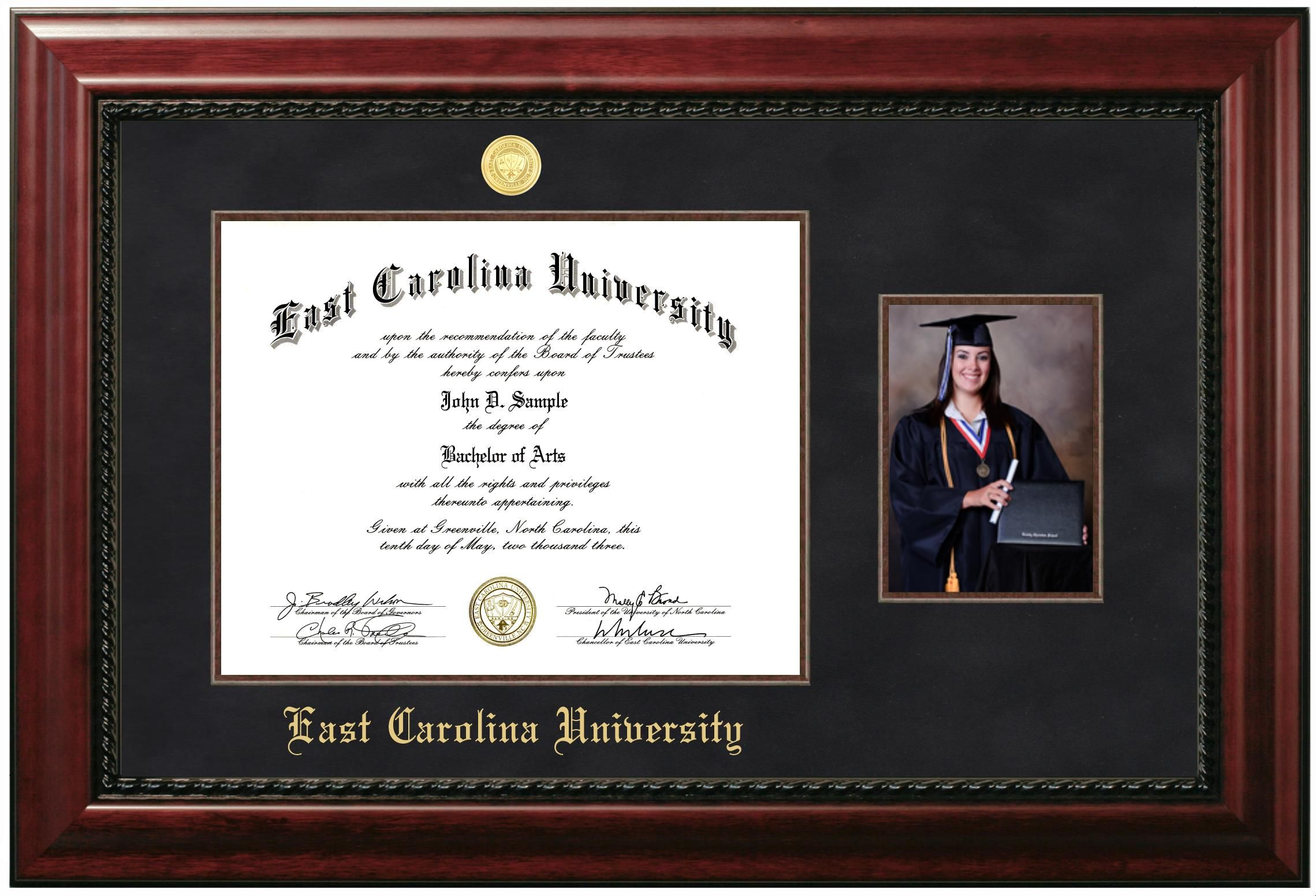11 x 14 Document Glossy Cherry Mahogany with Gold Trim Diploma Frame