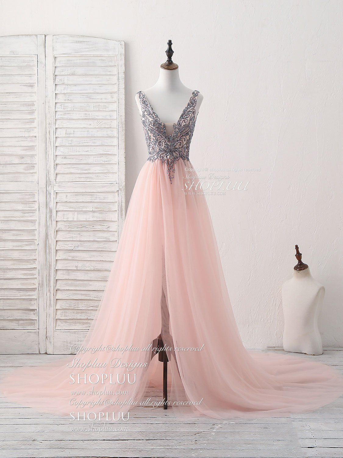 Pink v neck tulle beads long prom dress pink evening dress prom
