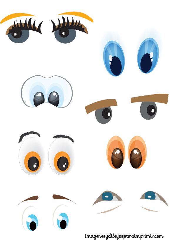 Ojos y bocas para imprimir | Ojos, Caritas, expresiones ...