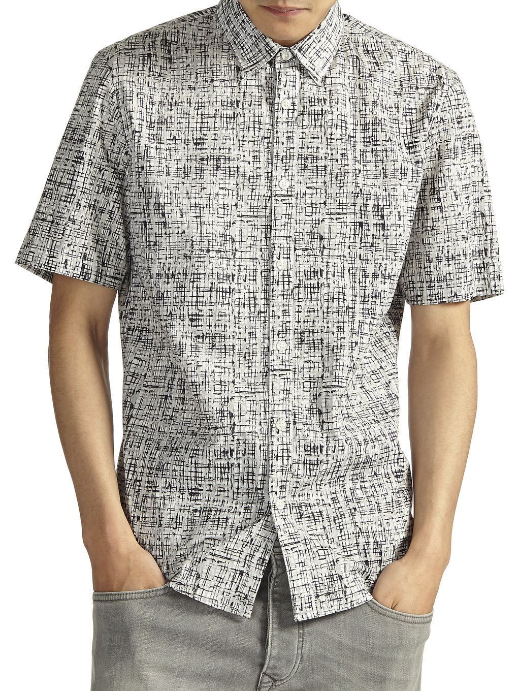 Grey Grid Monochrome Shirt