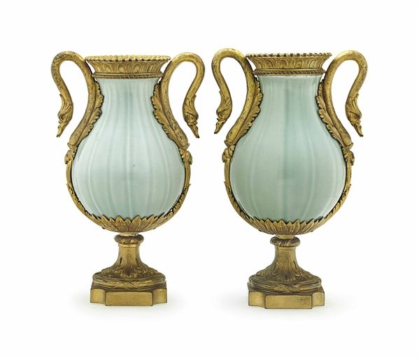 A PAIR OF RESTAURATION ORMOLU-MOUNTED CHINESE PORCELAIN CELADON-GLAZED VASES  SECOND QUARTER 19TH CENTURY