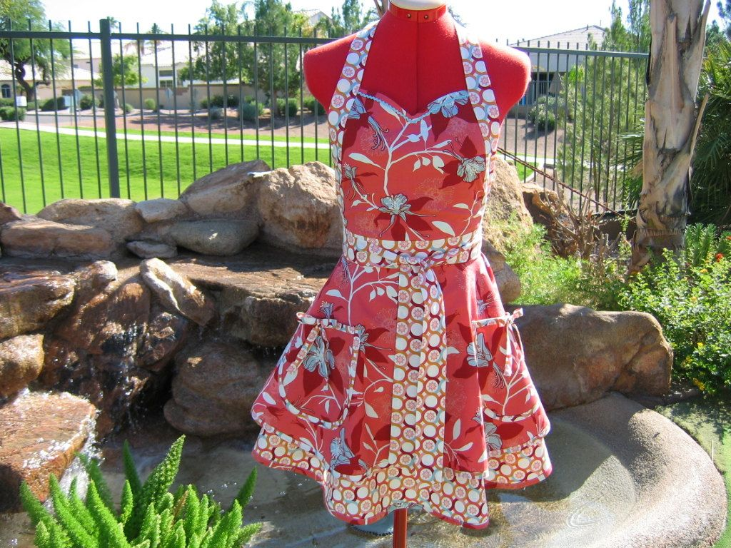 Full Apron - Womens Aprons - Custom Sizes - Sweetheart, Handmade - Scarlet Chic Sassy Apron / Joel Dewberry's Deer Valley. $37.95, via Etsy.