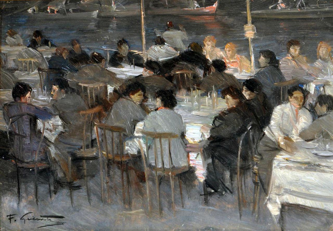 "huariqueje: "" Tavolata , Table - Francesco Galante Italian, 1884-1972 Oil on…"