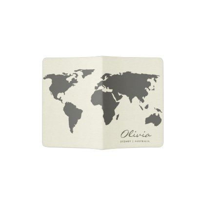Black And White World Map Monogram Passport Holder Zazzle Com World Map Silhouette World Map Outline Water Color World Map