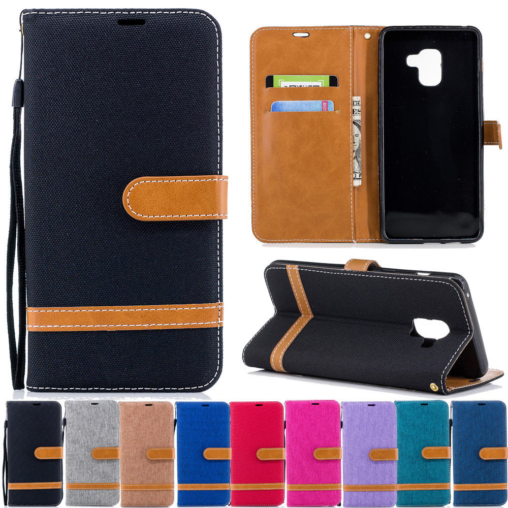 newest 4a9f5 fcdc4 $1.8 - For Samsung Galaxy A8 2018/J5 Pro Canvas Leather Flip Wallet ...