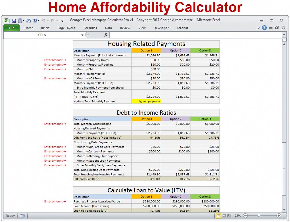 Georges Excel Mortgage Calculator Pro V4 0 Mortgage Calculator