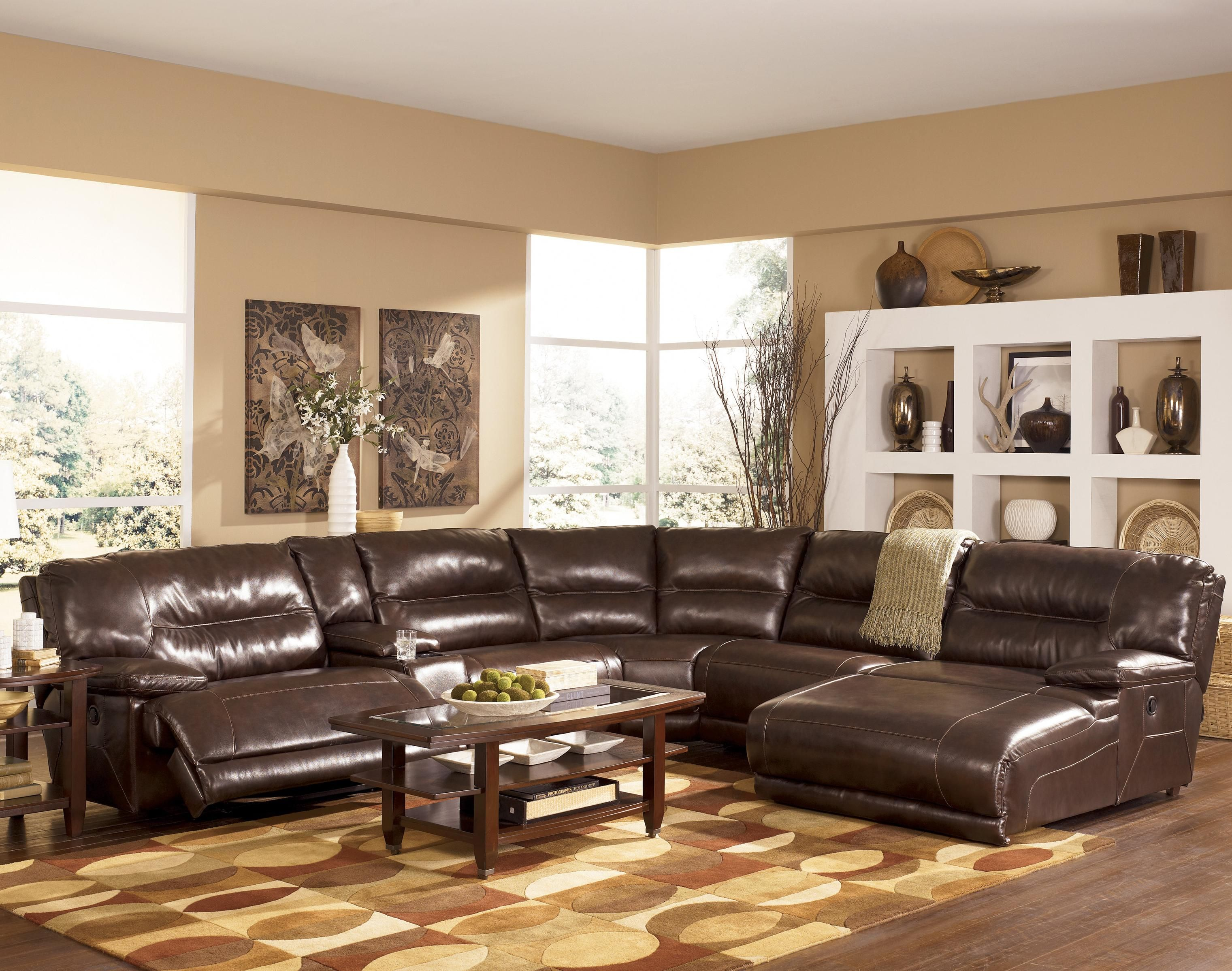 Exhilaration - Chocolate Contemporary #Leather Sectional by Signature Design by Ashley : ashley leather sectional with chaise - Sectionals, Sofas & Couches