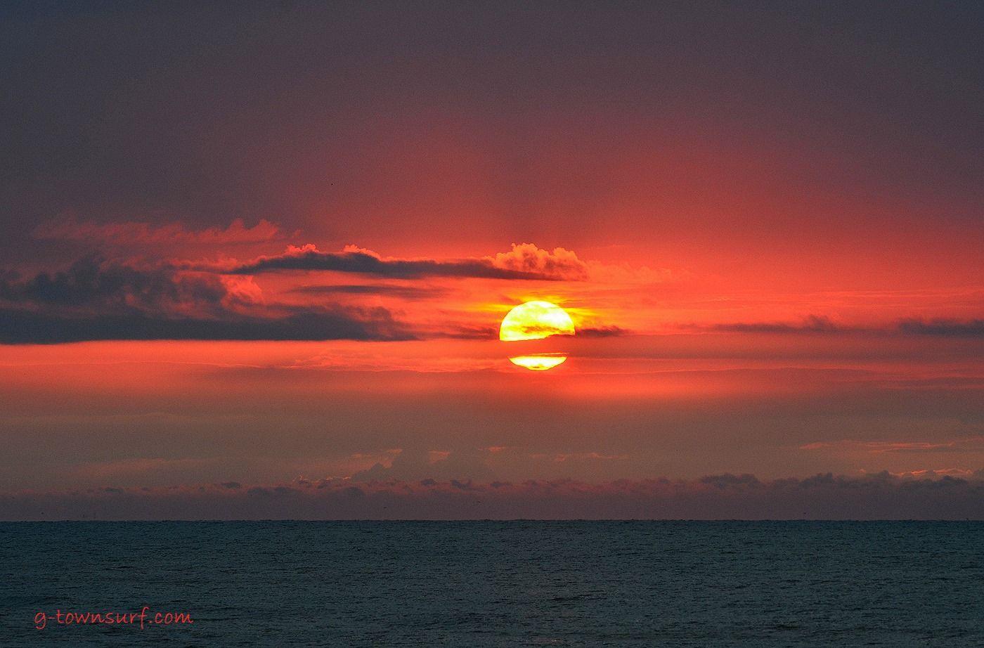 Beautiful Island Sunrise Off Of Galveston, Texas, For Your