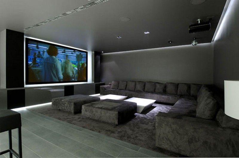 Huge Concrete House Design With Black Interior And Exterior Cinema Fascinating Home Theatre Interior Design Exterior