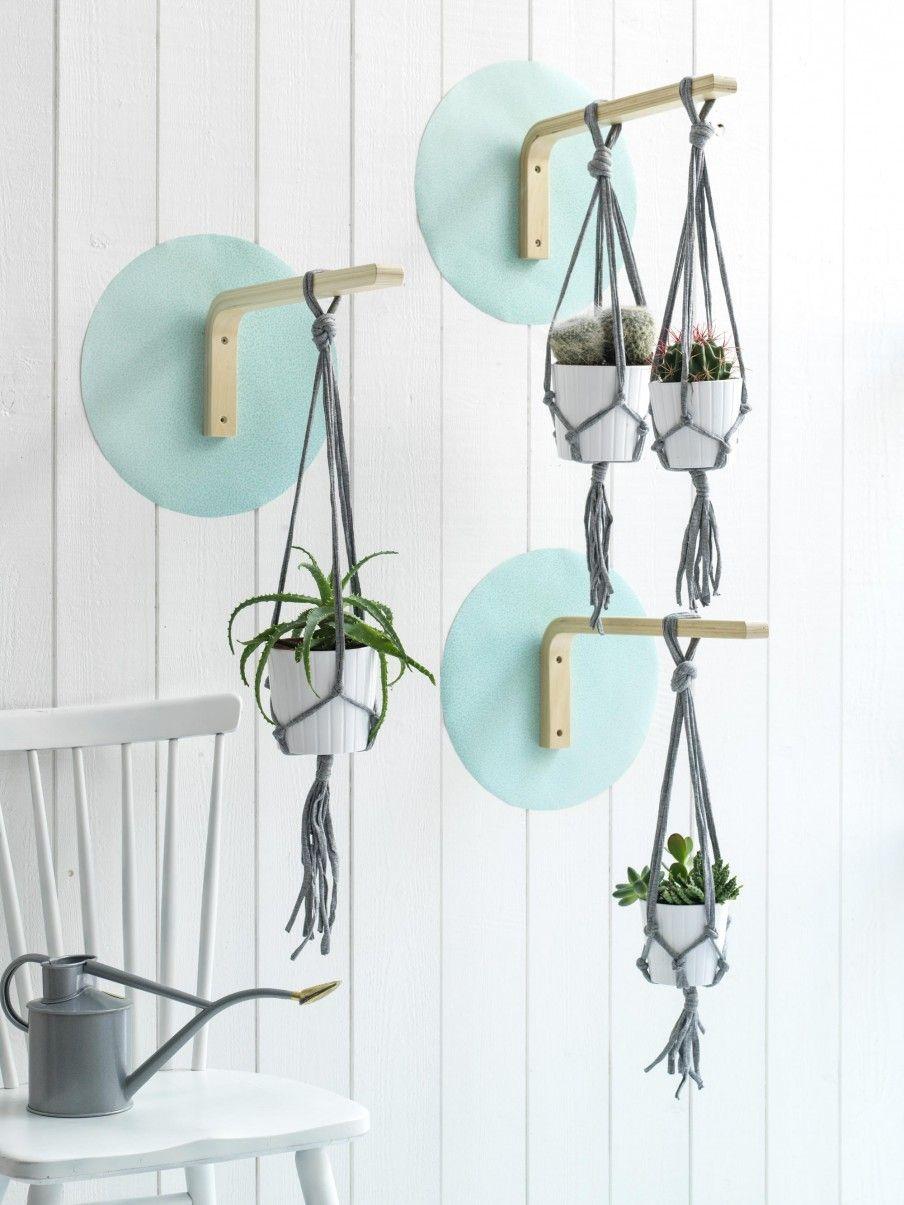 Garden Pots & Planters Hanging Shelf Indoor Plant Hanger Planter Rack Flower Pot Holder Boho Home Decor Cotton Rope With Wood Plate Lovely Luster