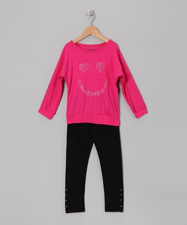 Take a look at this Hot Pink Smiley Face Tunic & Leggings - Girls by All Set: Girls' Outfits on #zulily today!