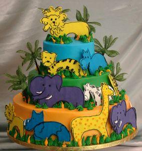Custom Birthday Cake. Adorable custom jungle themed cake with elephants, giraffes and hippos.   Palermo's Bakery creates custom cakes, wedding cakes, birthday cakes, graduation cakes, cake pops, cupcakes, cookies, custom dessert tables and serves the New Jersey/New York Area