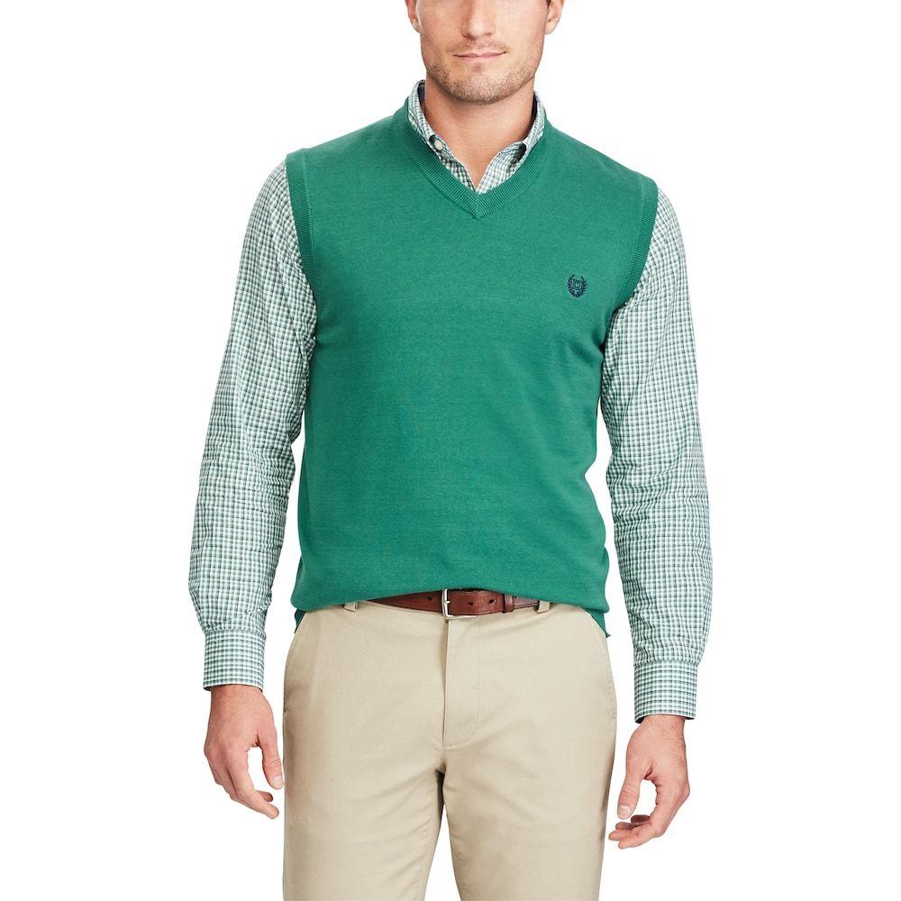Men's Chaps Classic-Fit Fine-Gauge Sweater Vest, Size: XXL, Red ...