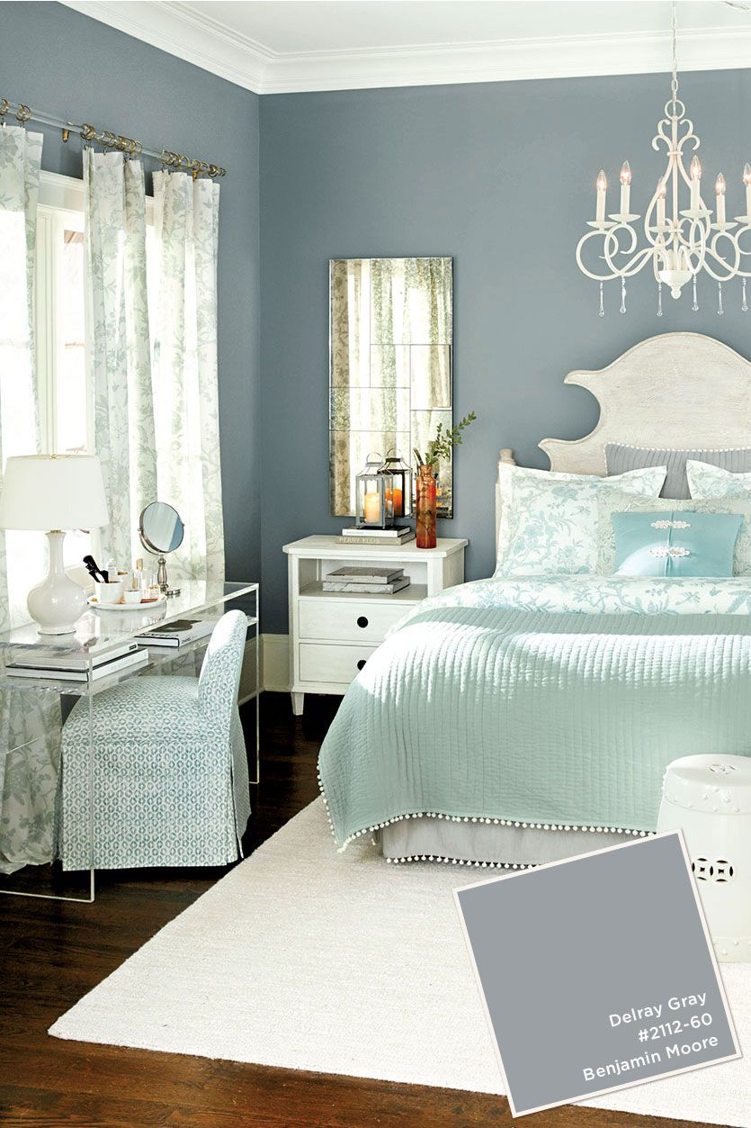 benjamin moore delray gray paint color from ballard designs catalog - Colors For Walls In Bedrooms