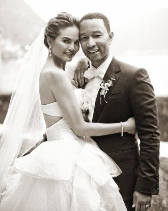 chrissy teigen made her wedding a runway with 3 designer dresses