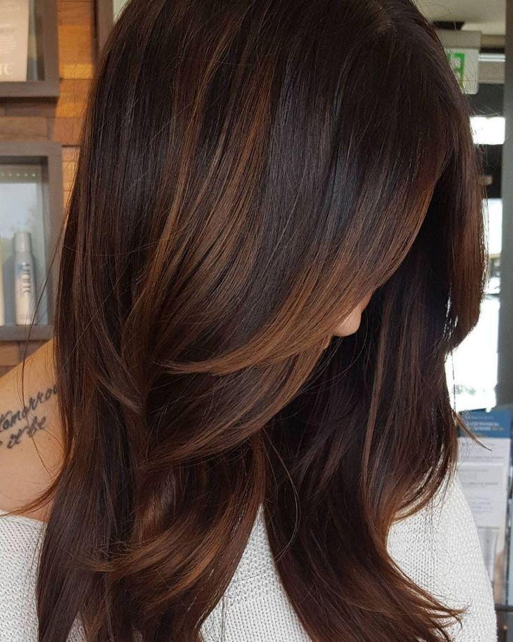 Copper Highlights For Dark Hair | ✂ Neue Haarfarben,  #Copper #Dark #diyjewelryhair #Haarfarb…