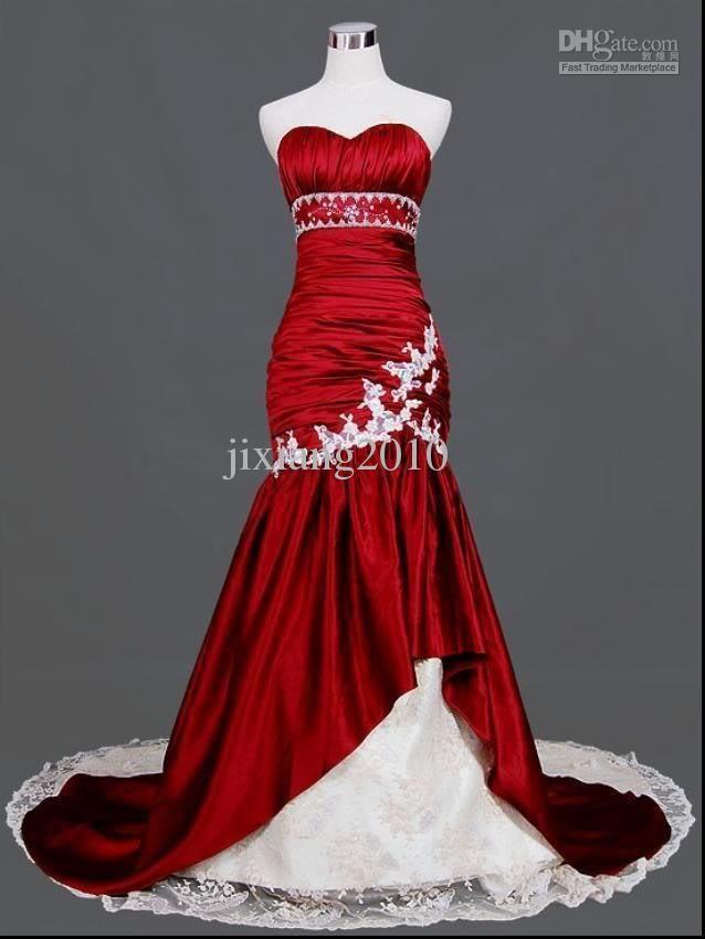 Images of Red Mermaid Wedding Dresses - Reikian