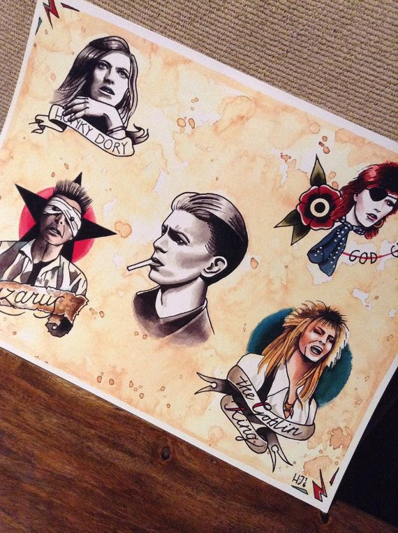 54e2b353c91b9 David Bowie tattoo flash print • Lazarus • Ziggy • Hunky Dory • Duke ...