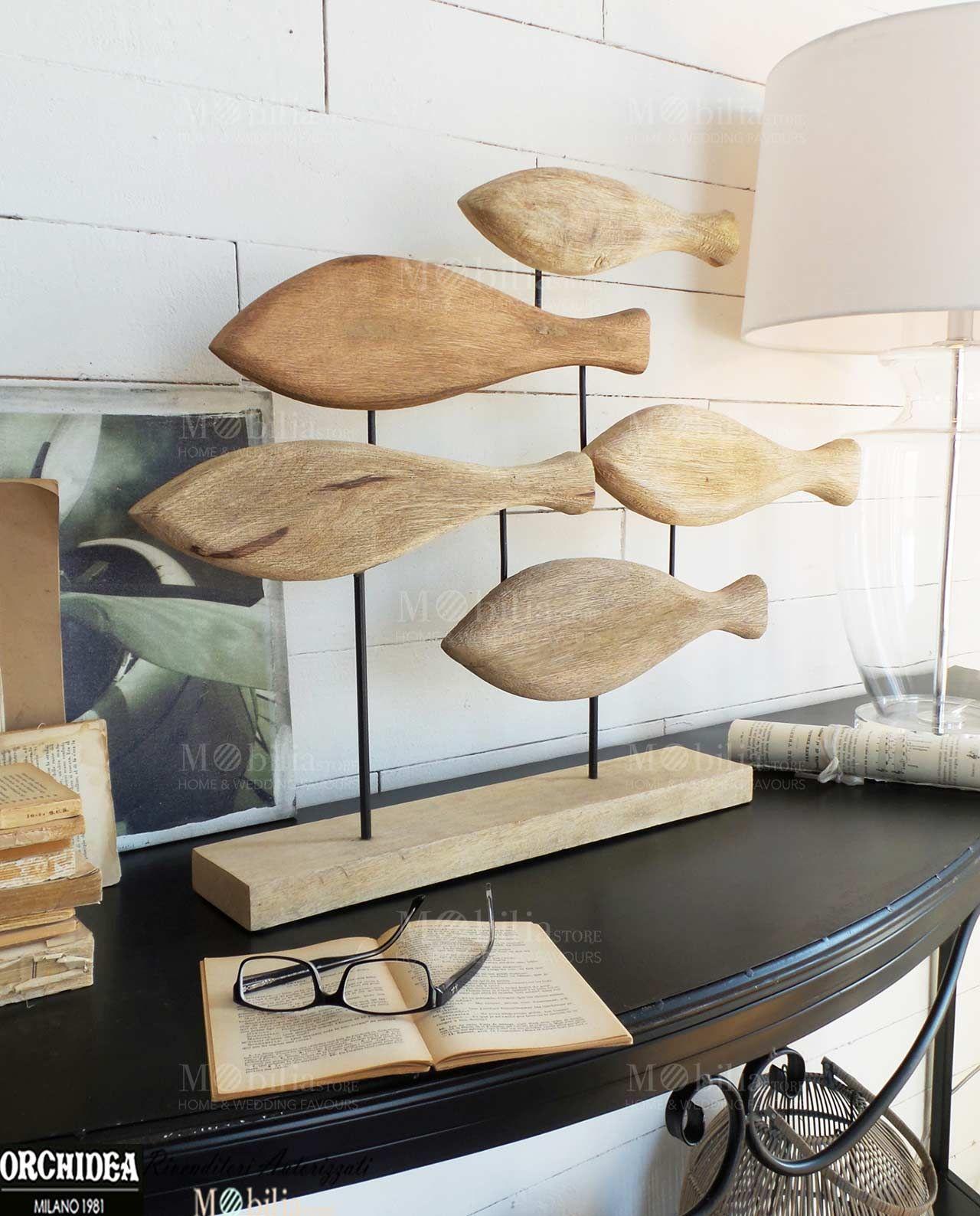 Soprammobili decorativi pesci legno di mango massello for Soprammobili fai da te