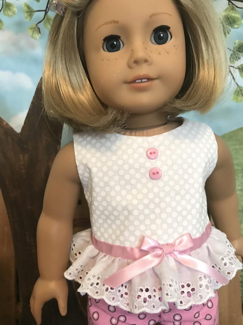 American Girl fitting Spring/Summer doll short set for
