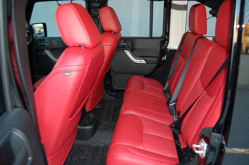 Red Custom Leather Seat Covers For 2013 2014 2015 2016 2017 18 Jeep Wrangler Jk Ebay Jeep Wrangler Interior Jeep Wrangler Accessories Leather Car Seat Covers