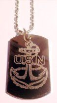 United States of America Navy Anchor USN Logo - Military Dog Tag Luggage Tag Key Chain Metal Chain Necklace