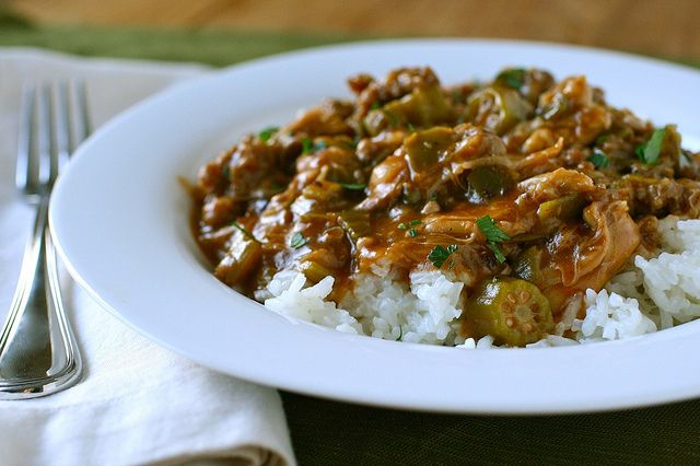 chicken and sausage gumbo  {Annie's Eats}...simmers for a few hours, so plan ahead...but makes alot and freezes well