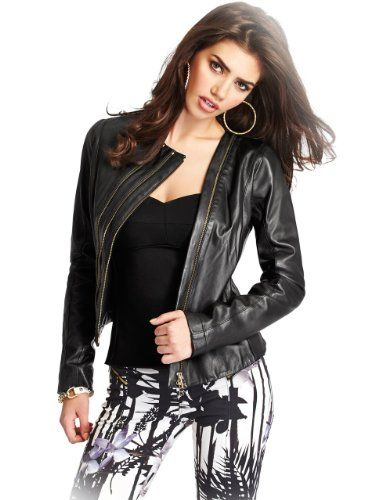 GUESS by Marciano Women's Zip Leather Jacket $262.49 #GUESSbyMarciano