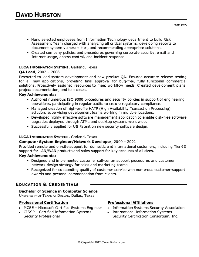 Information Security Analyst Resume Example -  http://resumesdesign.com/information-