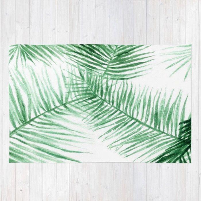 Palm Leaf Area Rug Leaves Modern