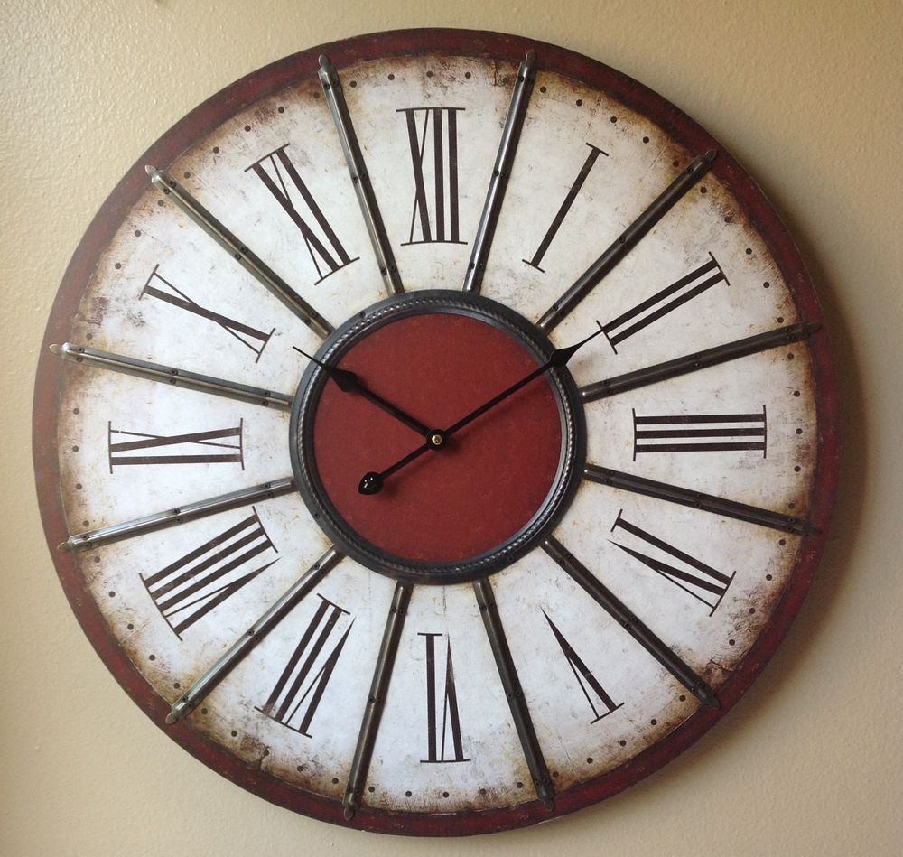 Clock large red brown white black metal roman numeral wall clock 24 - Large roman numeral wall clocks ...