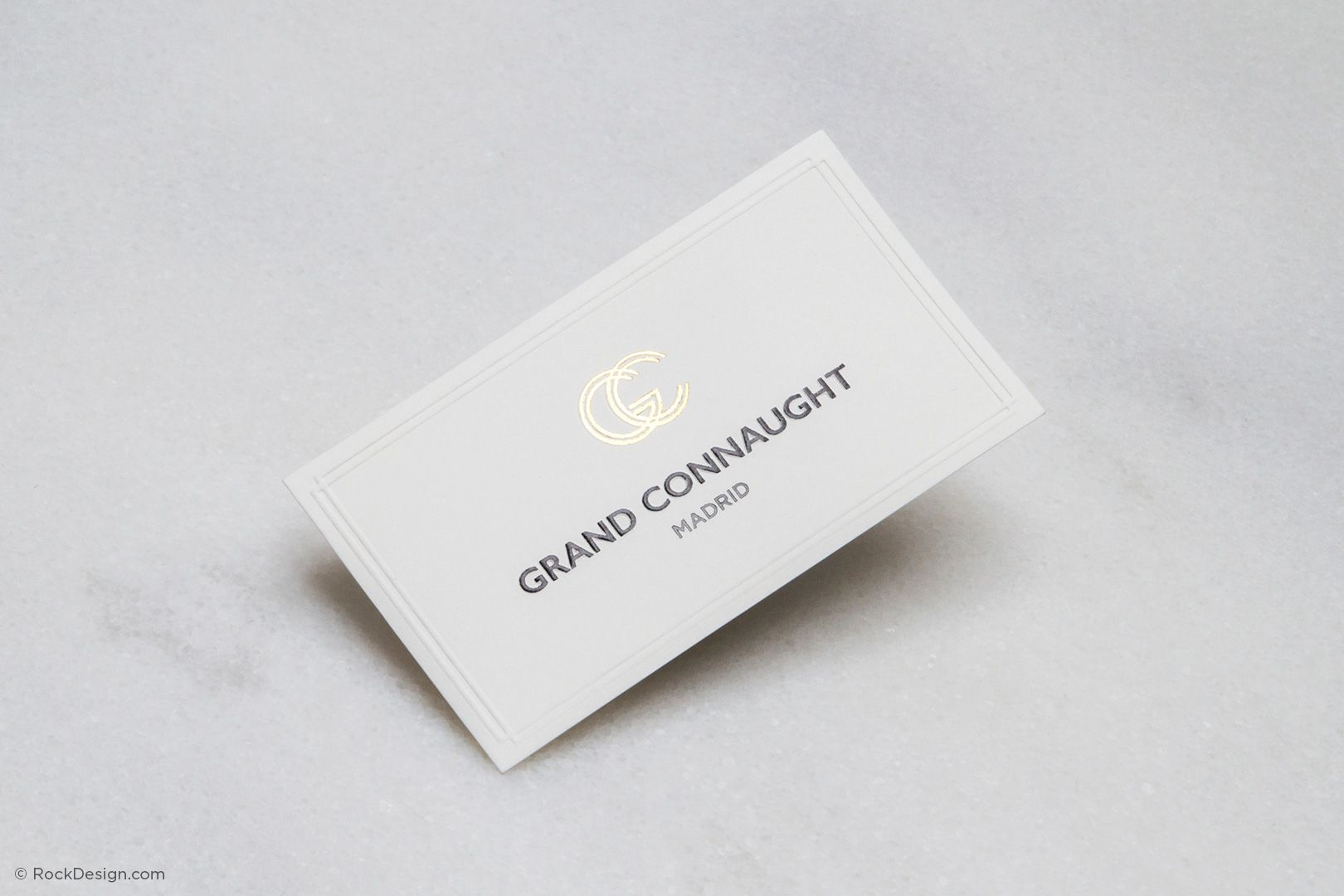 Luxe embossed with foil stamping business card - Grand Connaught ...