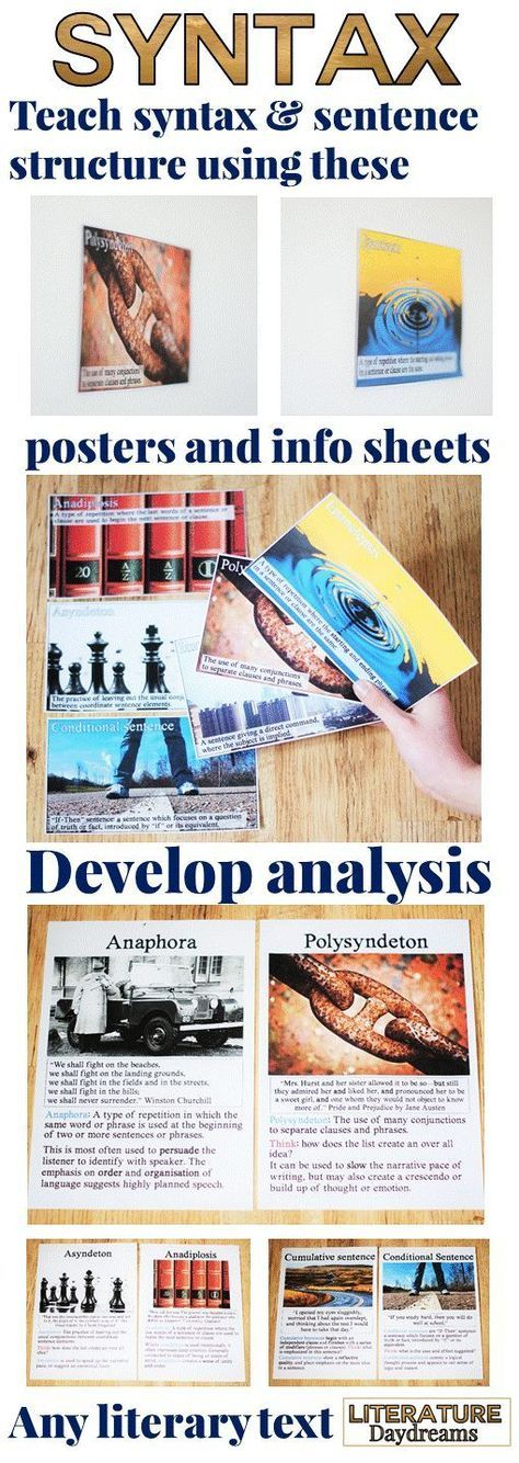 These posters and information sheets will help you and your students develop detailed analysis of syntax and sentence structure in any literary text. From cumulative sentences to anaphora – have your students write their own examples and then study the effect of syntax in literature. 12 posters and information sheets included with accompanying worksheets and text to study!