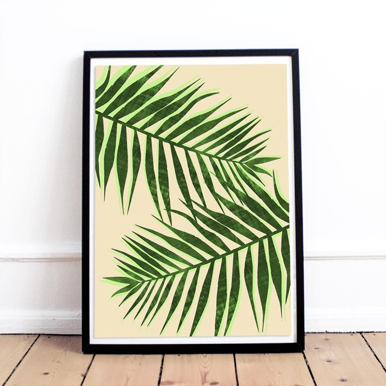 Tropical Leaves Plant Print Green Leaf Wall Art Pastel Room Wall