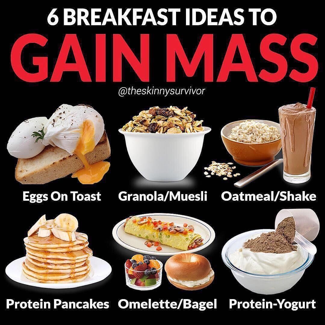 6 BREAKFAST IDEAS TO GAIN MASS by @theskinnysurvivor . Follow  @theskinnysurvivor for more 6 BREAKFAST ID… | Repas rapide et sain, Repas  d'entraînement, Nourriture