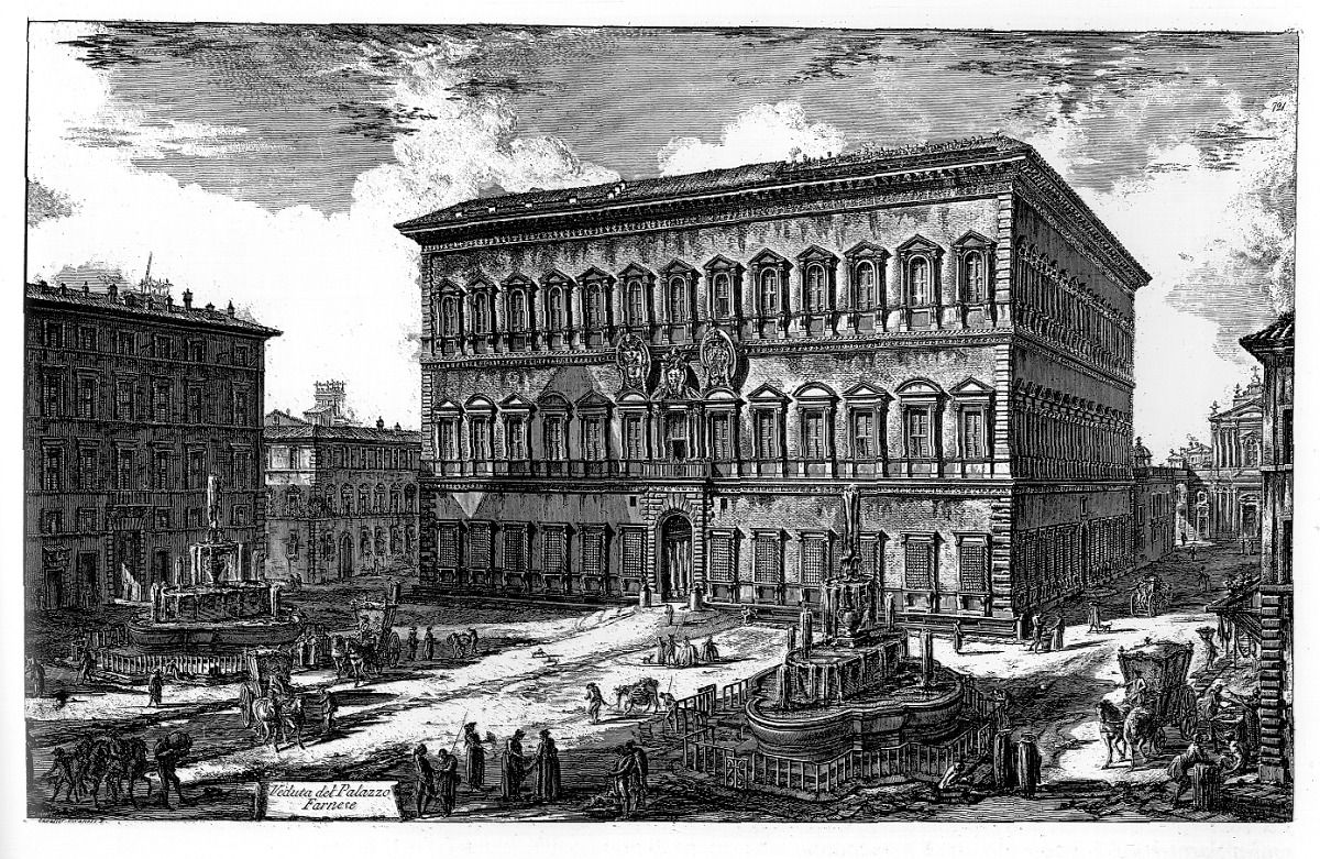 Palazzo #Farnese, Rome as it appeared in the 18th century, print by #Piranesi