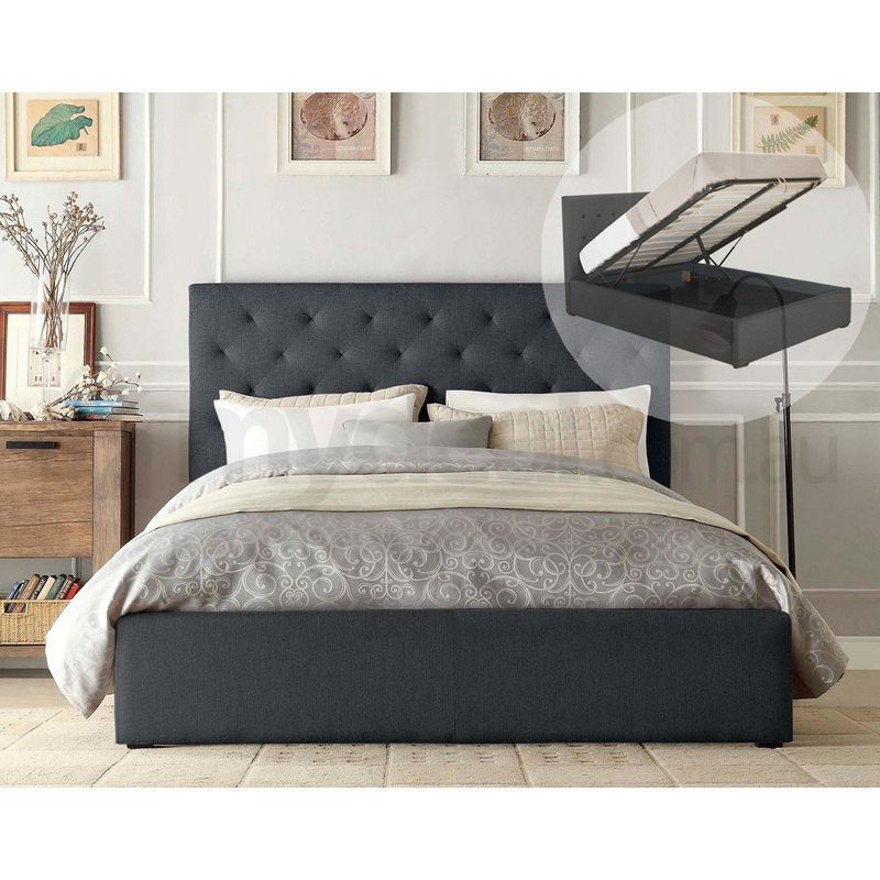 Marco Queen Gas Lift Fabric Bed Frame In Dark Grey Bed Frame