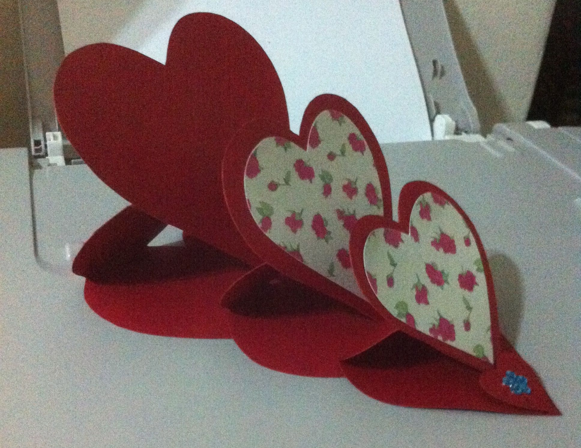 Divine Handmade Art Triple Heart Easel Cardhandmade Card