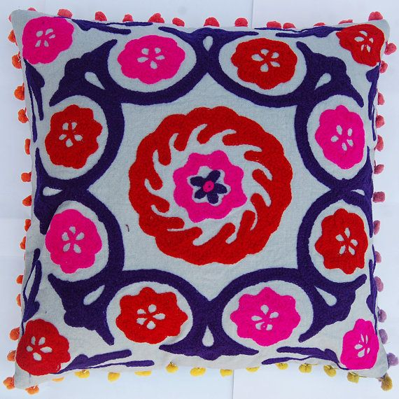 Indian Pillow Cover Woolen Embroidered Suzani Cushion Covers