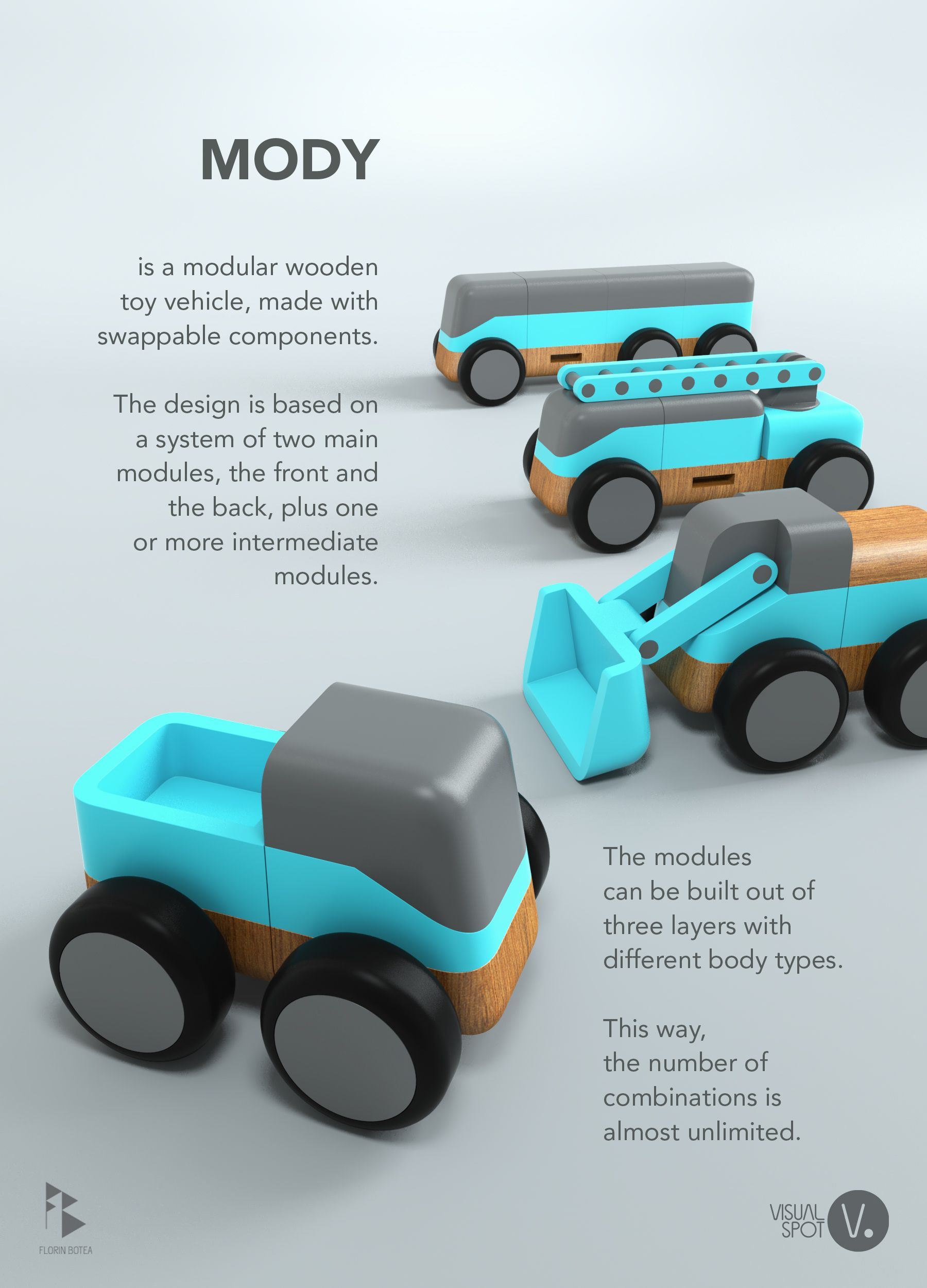 this is my design for a modular toy vehicle made entirely out of