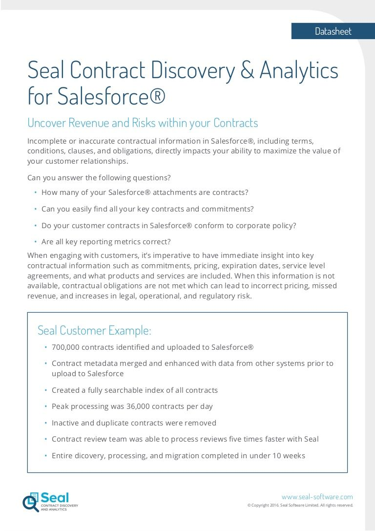 Seal Contract Discovery And Analytics Module For Salesforce Finds