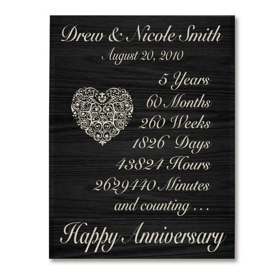5th Wedding Anniversary Gifts For Him: Personalized 5th Anniversary Gift For By