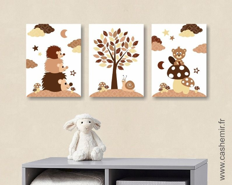 lot de 3 illustrations pour chambre de b b et d 39 enfant gar on h risson castor animaux for t. Black Bedroom Furniture Sets. Home Design Ideas