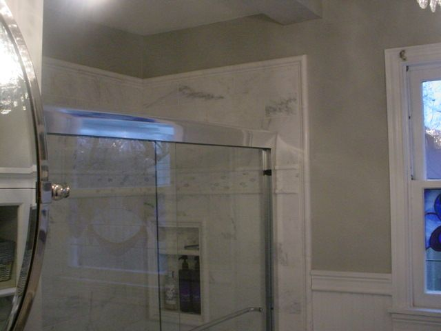 Remodel Snow white marble tile and Polished Nickel faucet from Baths ...