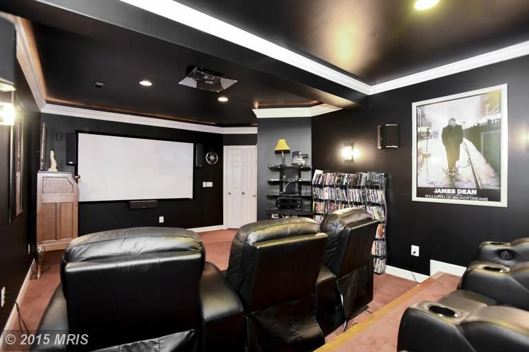 Inviting home theater even with the dark walls